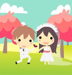 Cute couple propose in weddinds suit vector