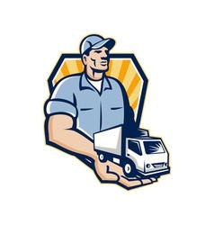 Delivery man handing removal van crest retro vector