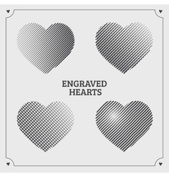 Engraved hearts vector image vector image