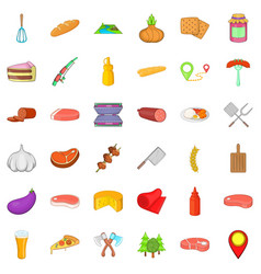 Food for barbecue icons set cartoon style vector