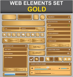 gold web elements set vector image