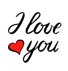 I love you brush lettering vector image