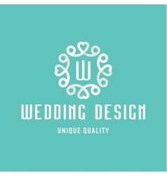 Letter w flat design wedding sign in the form of vector