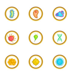 Micro organism icons set cartoon style vector