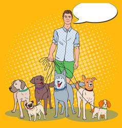 Pop art man dog walker vector