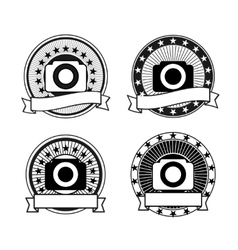 Set of camera badges vector image vector image
