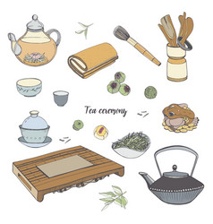 set tea ceremony with various traditional tools vector image vector image
