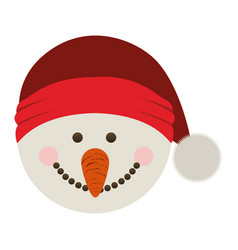 Silhouette of snowman head with christmas hat vector