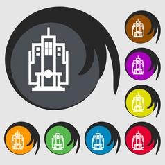 skyscraper icon sign Symbol on eight colored vector image vector image