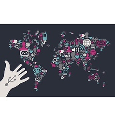 Social media global map vector