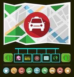Travel Transportation Taxi GPS Navigation Map vector image