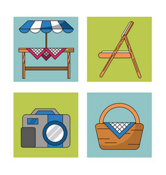 White background with frames of picnic elements vector