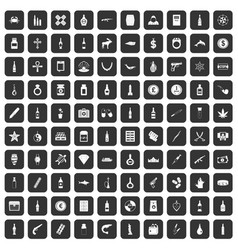 100 smuggling goods icons set black vector