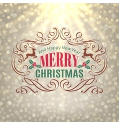 Christmas shine golden greeting card vector