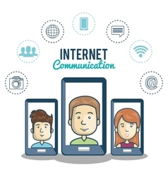 smartphone black character internet communication vector image