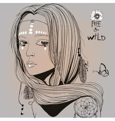 Portrait of beautiful hippie girl vector image