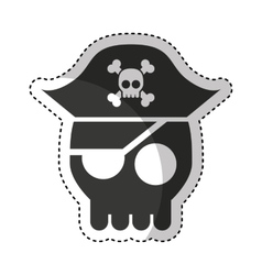 Hacker skull alert isolated icon vector