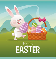 Happy easter card bunny collecting egg landscape vector