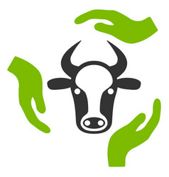 cow care hands flat icon vector image