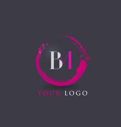 Bm letter logo circular purple splash brush vector