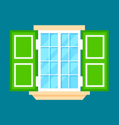 window with shutters in flat design vector image