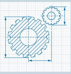 Cogwheel drawing blue vector