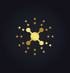 Science dot technology connection gold logo vector