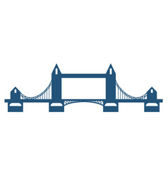 Tower bridge blue silhouette isolated on white vector