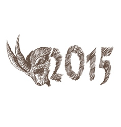 2015 goat head drawing vector