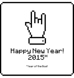 Happy new year card with sign of the horns vector