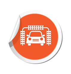 Car wash orange label vector
