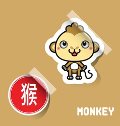 Chinese Zodiac Sign monkey sticker vector image