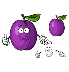 Happy purple cartoon plum fruit giving a thumbs up vector