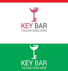 Cocktail key bar logo vector