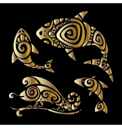 Lizards polynesian tattoo style vector