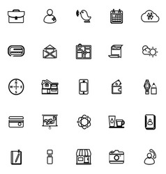 Mobile line icons on white background vector
