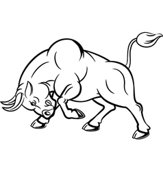 Cartoon of angry bull with attacking pose vector