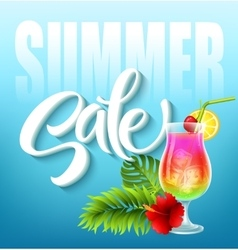 Summer sale lettering on blue background with vector