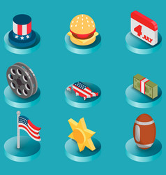america color isometric icons vector image vector image