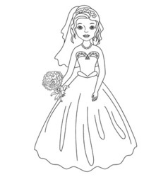 Bride in Black and White vector image vector image