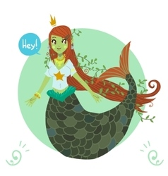 cartoon flat cute Mermaid princess vector image vector image