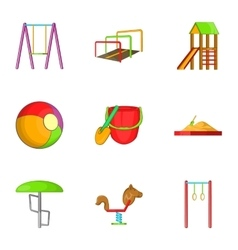 Children swing icons set cartoon style vector image