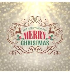Christmas Shine Golden Greeting Card vector image
