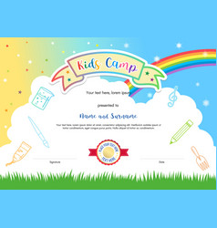 Colorful kids summer camp diploma certificate vector