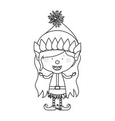 Contour with christmas gnome girl vector