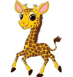 Cute giraffe running isolated on white background vector image vector image