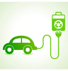 Electric car charged by a eco cell concept vector image