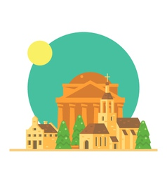 Flat design of Pantheon Italy with village vector image
