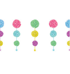 Fun set of hanging pastel colorful birthday vector