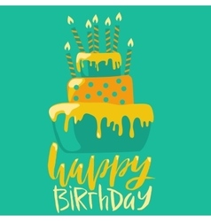 Happy birthday card with cake and candles vector